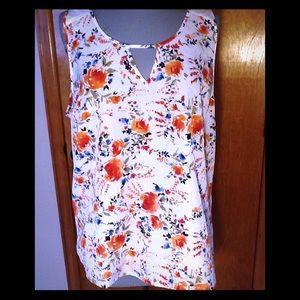 Market & Spruce, orange floral, sleeveless blouse.